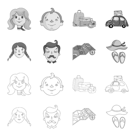 Travel, vacation, camping, map .Family holiday set collection icons in outline,monochrome style vector symbol stock illustration web.