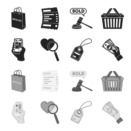 Hand, mobile phone, online store and other equipment. E commerce set collection icons in black,monochrome style vector symbol stock illustration web.
