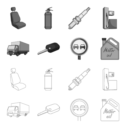 Truck with awning, ignition key, prohibitory sign, engine oil in canister, Vehicle set collection icons in outline,monochrome style vector symbol stock illustration web.