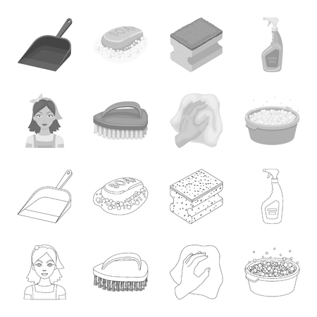 A cleaning woman, a housewife in an apron, a green brush, a hand with a rag, a blue wash hand basin with foam. Cleaning set collection icons in outline,monochrome style vector symbol stock illustration web.