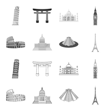 Sights of different countries outline,monochrome icons in set collection for design. Famous building vector symbol stock web illustration. Illustration