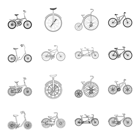 Children bicycle, a double tandem and other types.Different bicycles set collection icons in outline,monochrome style vector symbol stock illustration web. Ilustracja