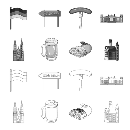 Country Germany outline,monochrome icons in set collection for design. Germany and landmark vector symbol stock web illustration.