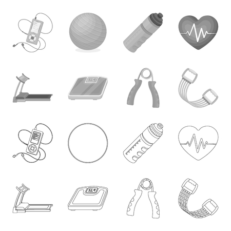 Treadmill, scales, expander and other equipment for training.Gym and workout set collection icons in outline,monochrome style vector symbol stock illustration web. Ilustração