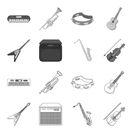 Guitare électrique, haut-parleur, saxophone, violon.Instruments de musique mis icônes de la collection dans le contour, le style monochrome vecteur symbole stock illustration web.