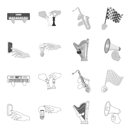 Electric switch button, incandescent lamp and other web icon in outline,monochrome style. harp playing, Megaphone in hand icons in set collection. Illustration
