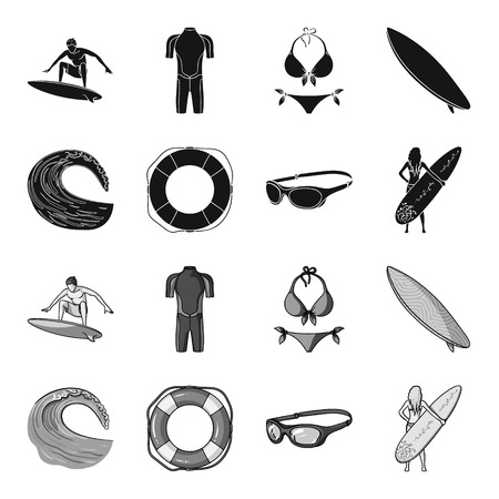 Oncoming wave, life ring, goggles, girl surfing. Surfing set collection icons in black,monochrome style vector symbol stock illustration web.