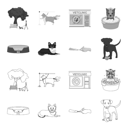 Lounger for a pet, clipping of claws in a vet clinic, lying dog, puppy with a ball. Vet clinic and pet,dog care set collection icons in outline,monochrome style vector symbol stock illustration . Vettoriali