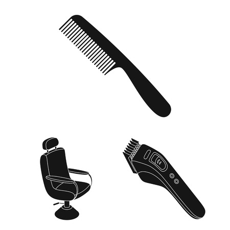 Barbershop and equipment black icons in set collection for design. Haircut and shave vector symbol stock web illustration.