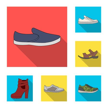 Icone piane delle scarpe differenti nella raccolta dell'insieme per progettazione. Illustrazione di Web delle azione di simbolo di vettore delle scarpe delle donne e degli uomini.