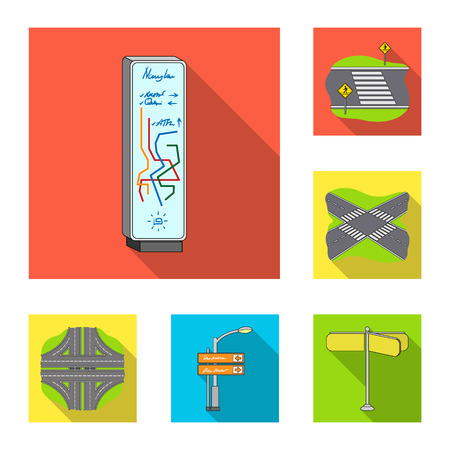 Road junctions and signs and other web icon in flat style.Pedestrian crossings and signs icons in set collection.