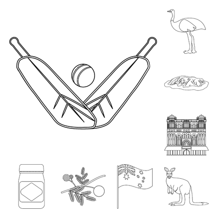 Country Australia outline icons in set collection for design.Travel and attractions vector symbol stock web illustration.