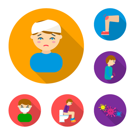 The sick man flat icons in set collection for design.Illness and treatment vector symbol stock web illustration. Illustration