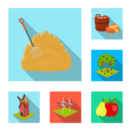 Farm and agriculture flat icons in set collection for design. Garden and plants isometric vector symbol stock web illustration.  イラスト・ベクター素材