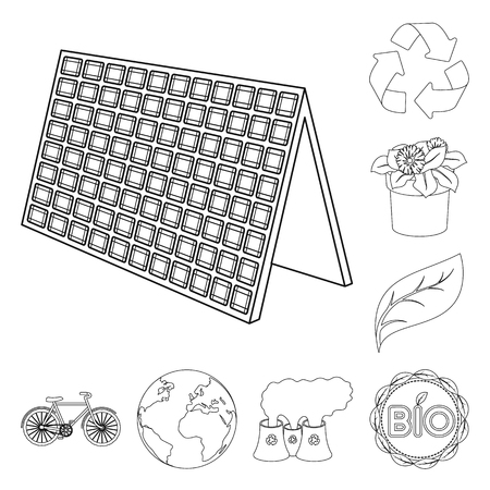 Bio and ecology outline icons in set collection for design. An ecologically pure product vector symbol stock web illustration.