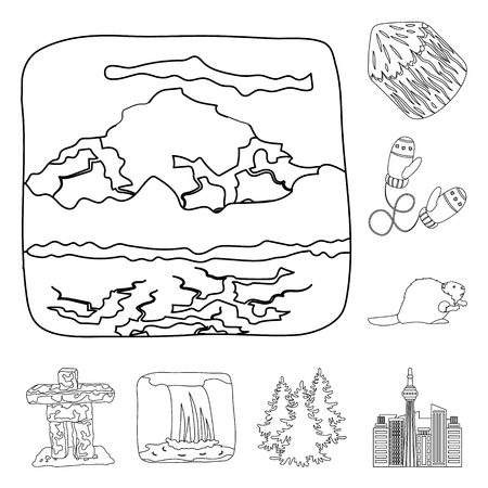 Country Canada outline icons in set collection for design. Canada and landmark vector symbol stock web illustration. Ilustração