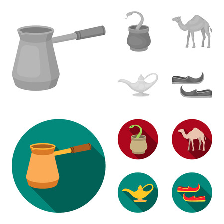 Cezve,Oil lamp, camel, snake in the basket.Arab emirates set collection icons in monochrome,flat style vector symbol stock illustration web. Illustration