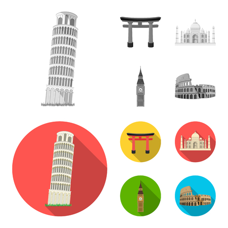 Sights of different countries monochrome,flat icons in set collection for design. Famous building vector symbol stock web illustration.