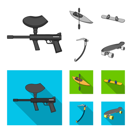 Paintball marker, kayak with a paddle, snowboard and climbing ice ax.Extreme sport set collection icons in monochrome,flat style vector symbol stock illustration web.