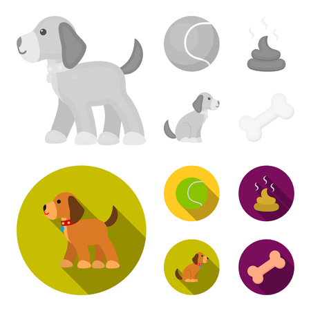 Dog sitting, dog standing, tennis ball, feces. Dog set collection icons in monochrome,flat style vector symbol stock illustration web. Çizim