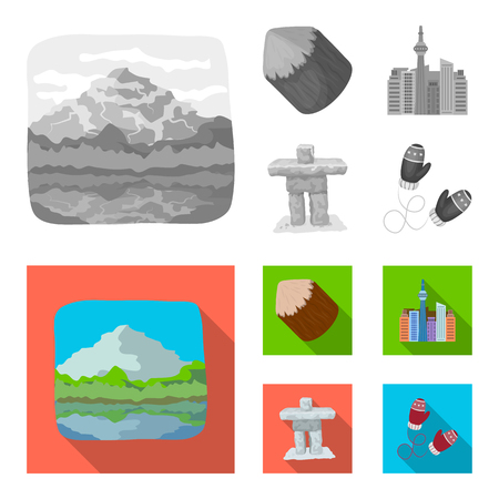 Lakes, mountains, the tower of SI-EN and other symbols of Canada.Canada set collection icons in monochrome,flat style vector symbol stock illustration web.