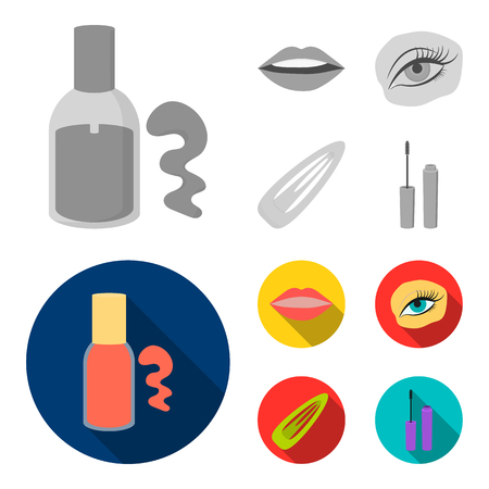 Nail polish, tinted eyelashes, lips with lipstick, hair clip.Makeup set collection icons in monochrome,flat style vector symbol stock illustration web.