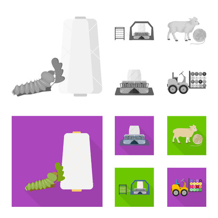 Cotton, coil, thread, pest, and other web icon in monochrome,flat style. Textiles, industry, gear icons in set collection. Illustration