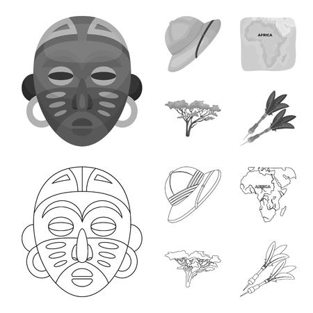 Cork hat, darts, savannah tree, territory map. African safari set collection icons in outline,monochrome style vector symbol stock illustration web. Illustration