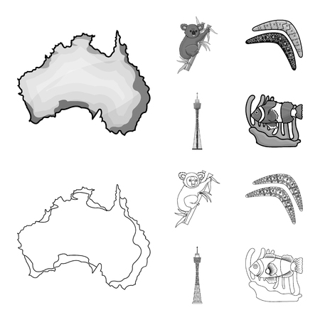 Koala on bamboo, boomerang, Sydney tower, fish clown and ammonium.Australia set collection icons in outline,monochrome style vector symbol stock illustration web.