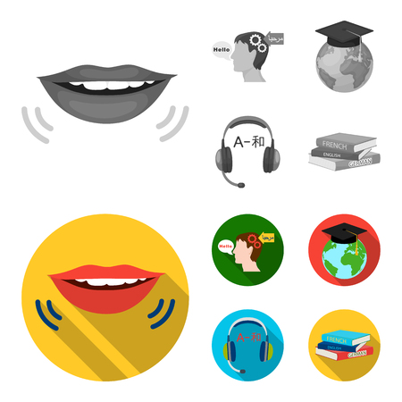 The mouth of the person speaking, the person head translating the text, the globe with the master cap, the headphones with the translation. Interpreter and translator set collection icons in monochrome,flat style vector symbol stock illustration web.