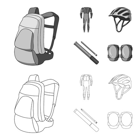 Full-body suit for the rider, helmet, pump with a hose, knee protectors.Cyclist outfit set collection icons in outline,monochrome style vector symbol stock illustration web. Illustration