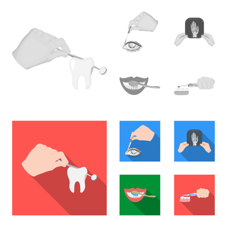 Examination of the tooth, instillation of the eye and other web icon in monochrome,flat style. A snapshot of the hand, teeth cleaning icons in set collection.