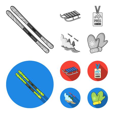 Ski, sled, lifeguard badge, badge avalanche. Ski resort set collection icons in monochrome,flat style vector symbol stock illustration web.