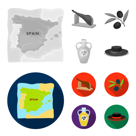 Map of Spain, jamon national dish, olives on a branch, olive oil in a bottle. Spain country set collection icons in monochrome,flat style vector symbol stock illustration web.
