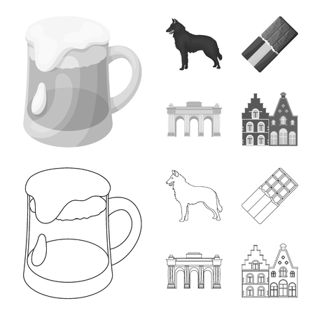Chocolate, cathedral and other symbols of the country.Belgium set collection icons in outline,monochrome style vector symbol stock illustration web. Illustration
