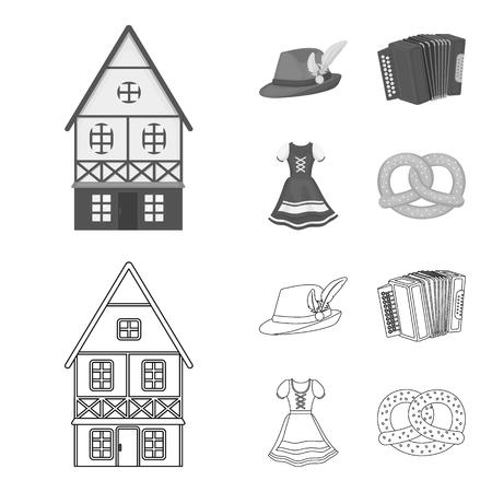 Tyrolean hat, accordion, dress, pretzel. Oktoberfest set collection icons in outline,monochrome style vector symbol stock illustration web.
