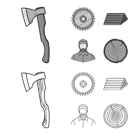 Circular saw, a working carpenter, a stack of logs. A sawmill and timber set collection icons in outline,monochrome style vector symbol stock illustration web.