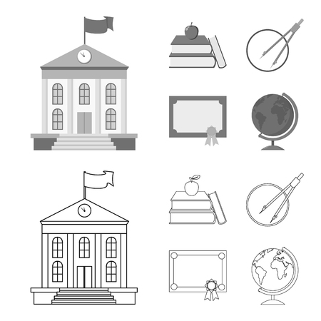 Books, an apple, a compass with a circle, a diploma with a seal, a globe. School set collection icons in outline,monochrome style vector symbol stock illustration web. Illustration