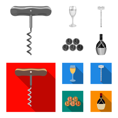 Corkscrew, alcohol counter, barrels in the vault, a glass of white wine. Wine production set collection icons in monochrome,flat style vector symbol stock illustration web.