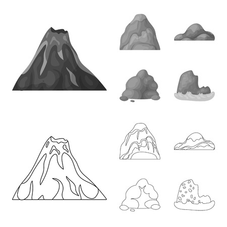 Boulders, a rounded mountain, rocks in the sea. Different mountains set collection icons in outline,monochrome style vector symbol stock illustration web. Vectores
