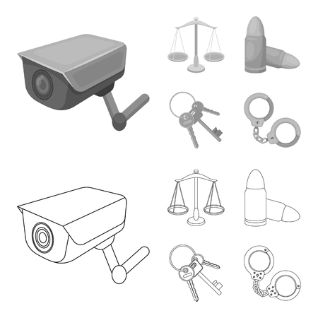 Scales of justice, cartridges, a bunch of keys, handcuffs.Prison set collection icons in outline,monochrome style vector symbol stock illustration web.