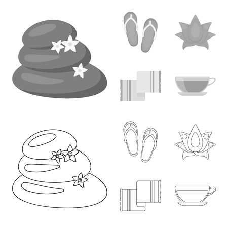 Flip-flops for the pool, lotus flower with petals, yellow towel with fringe, cup with tea, drink. Spa set collection icons in outline,monochrome style vector symbol stock illustration web.
