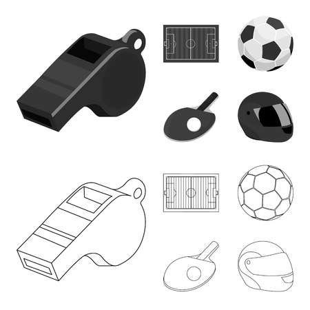Field, stadium with markings for playing football, football ball, racket with a ball for ping-pong, protective helmet for the game,glove for baseball or rugby. Sport set collection icons in outline,monochrome ,flat style vector symbol stock illustration web.