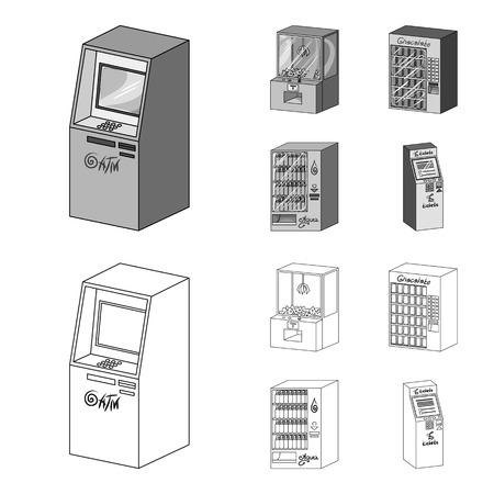 Una máquina de juegos, una terminal de venta de entradas, un autómata para vender agua y chocolate. Los terminales establecen los iconos de la colección en estilo monocromo, web isométrica del ejemplo de la acción del símbolo del vector.