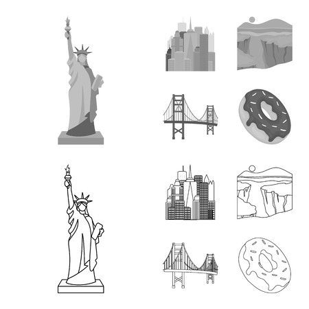 A megacity, a grand canyon, a golden gate bridge,donut with chocolate. The US country set collection icons in outline,monochrome style vector symbol stock illustration web.