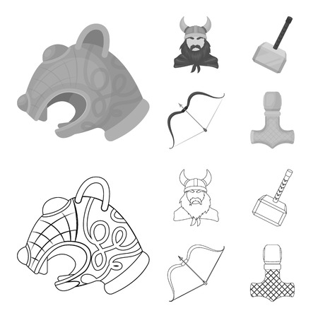 Viking in helmet with horns, mace, bow with arrow, treasure. Vikings set collection icons in outline,monochrome style vector symbol stock illustration web. Illustration