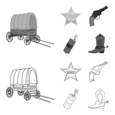 Star sheriff, Colt, dynamite, cowboy boot. Wild West set collection icons in outline,monochrome style vector symbol stock illustration web.