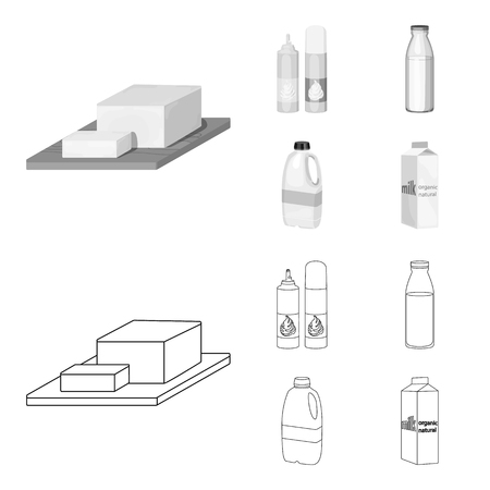 Milk, Calcium, Product, Food .Milk product and sweet set collection icons in outline,monochrome style vector symbol stock illustration web.  イラスト・ベクター素材
