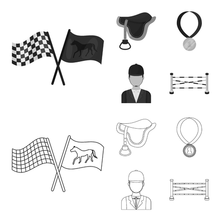 Saddle, medal, champion, winner .Hippodrome and horse set collection icons in outline,monochrome style vector symbol stock illustration web.
