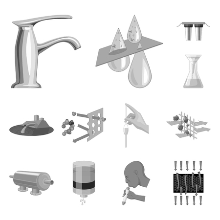 Water filtration system monochrome icons in set collection for design. Cleaning equipment vector symbol stock web illustration. Illustration
